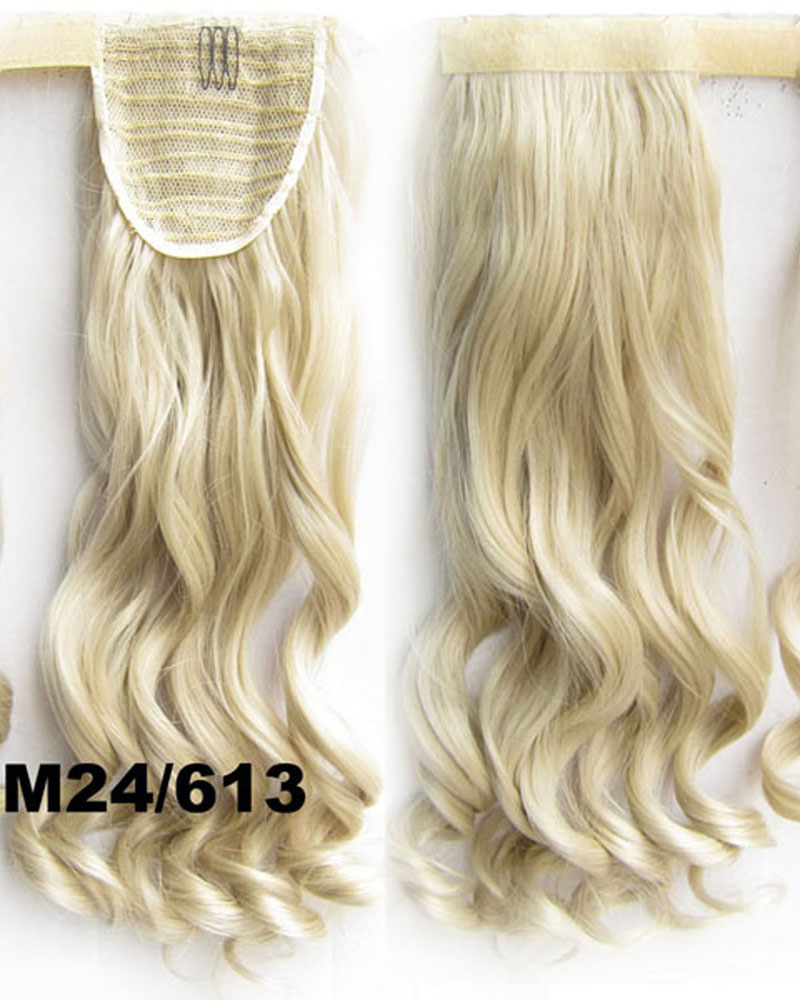 22 Inch Lady Curly and Long Wrap Around Synthetic Hair Ponytail M24/613 Clean and Clean