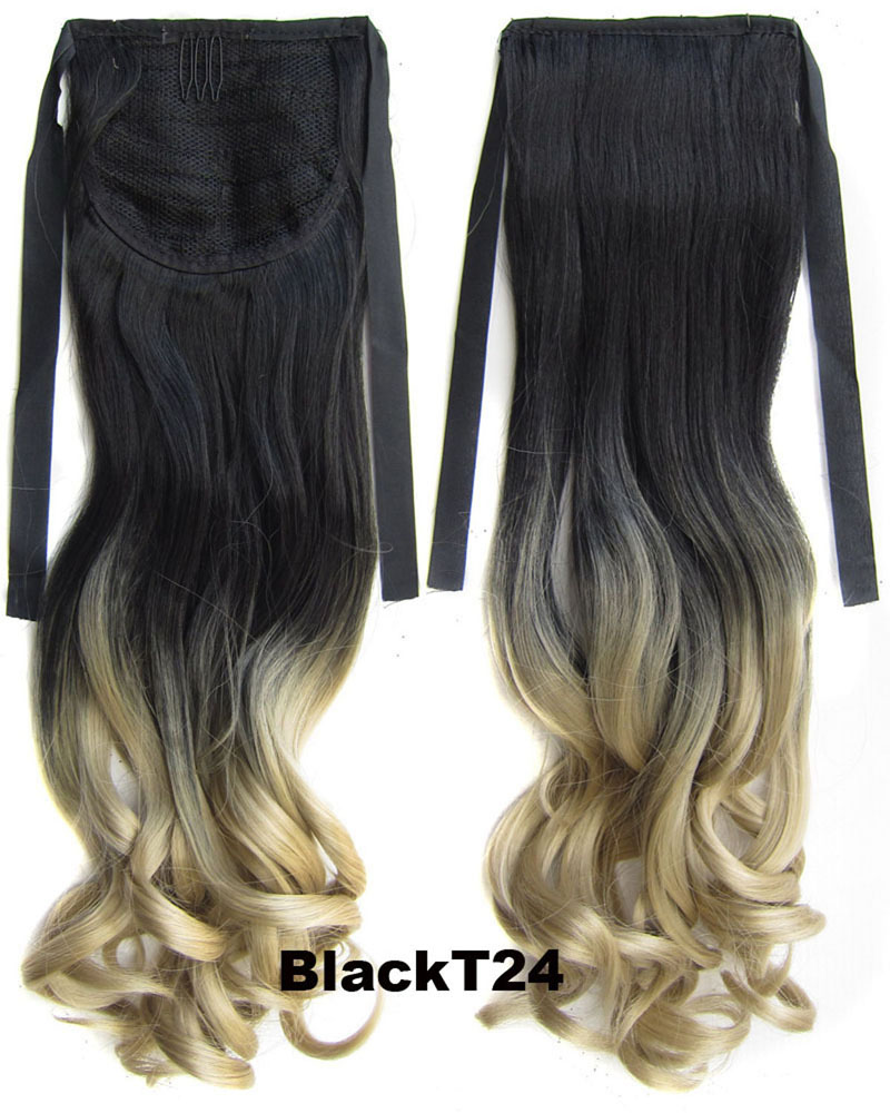 22 Inch Lady Elegant Curly Lace/Ribbon Synthetic Hair Ponytail BlackT24 Ombre Clean and Comfortable