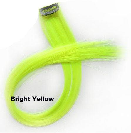 22 Inch Lady Exquisite Straight Long One Piece One Clip Clip in Synthetic Hair Extension Bright Yellow