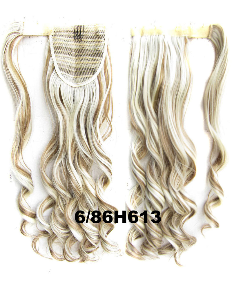 22 Inch Lady Fantastic Curly and Long Wrap Around Synthetic Hair Ponytail  6/86H613#
