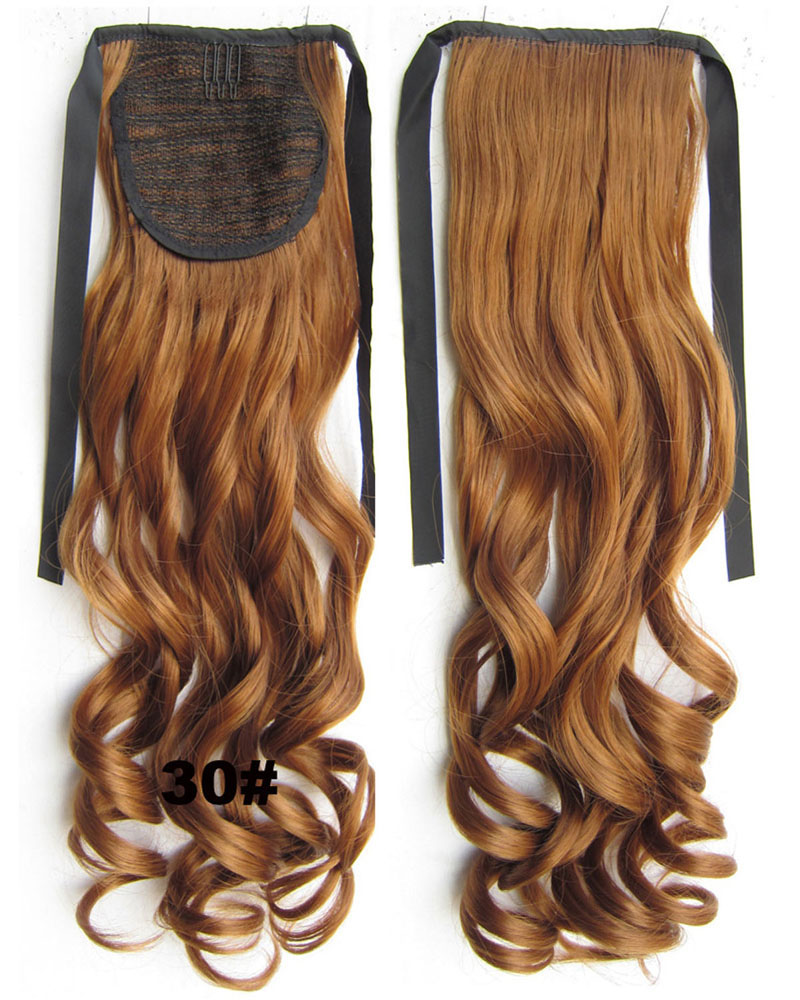 22 Inch Lady Fashionable Curly and Long Lace/Ribbon Synthetic Hair Ponytail 30# Bright and Silky