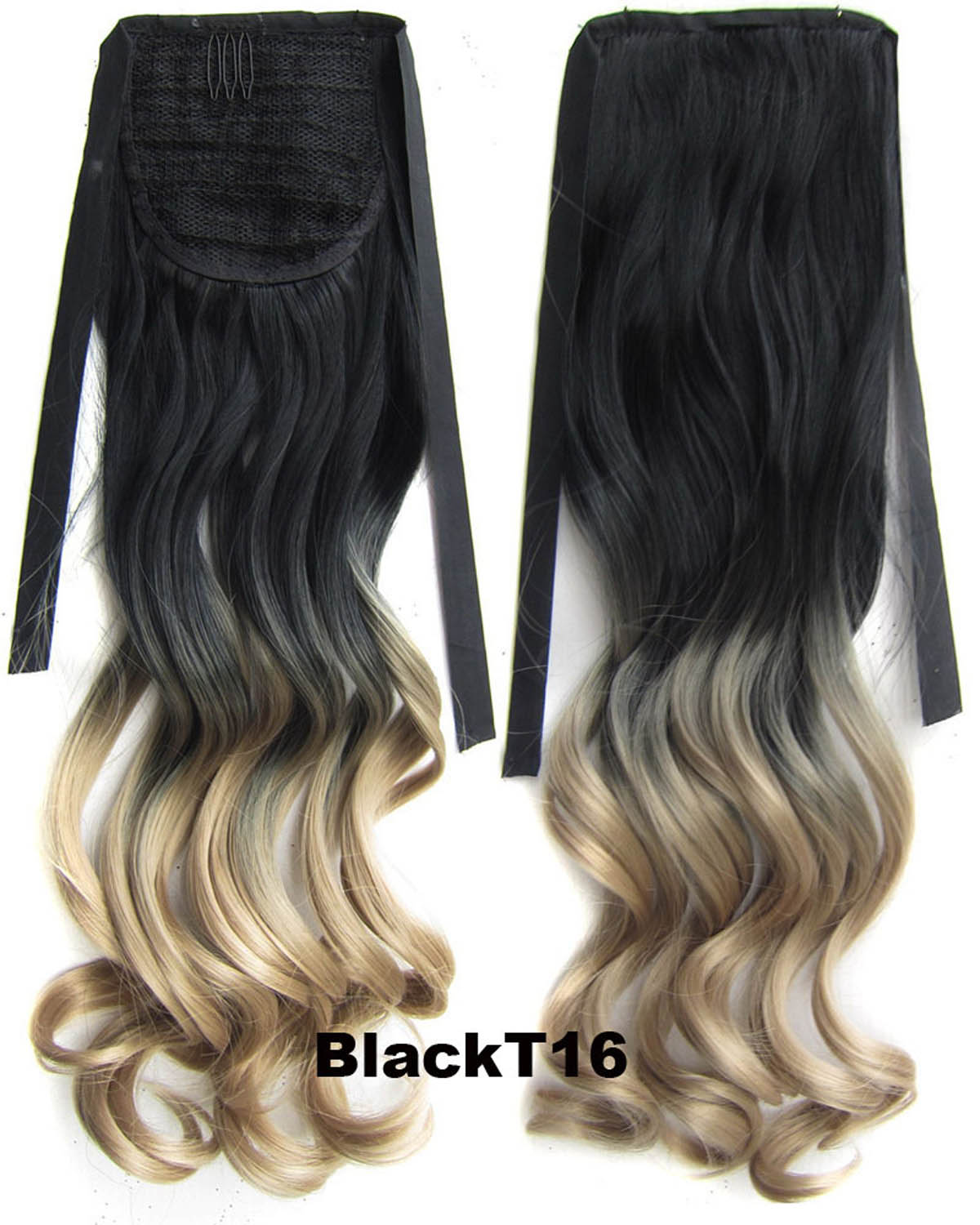 22 Inch Lady Fashionable Curly and Long Lace/Ribbon Synthetic Hair Ponytail Ombre BlackT16