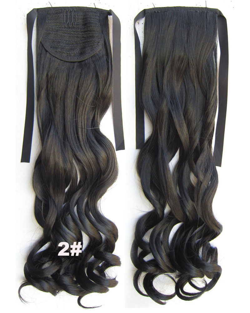 22 Inch Lady Good Quality Curly and Long Lace/Ribbon Synthetic Hair Ponytail 2#