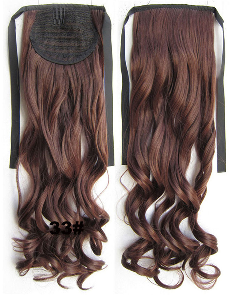 22 Inch Lady Good Quality Curly and Long Lace/Ribbon Synthetic Hair Ponytail 33#