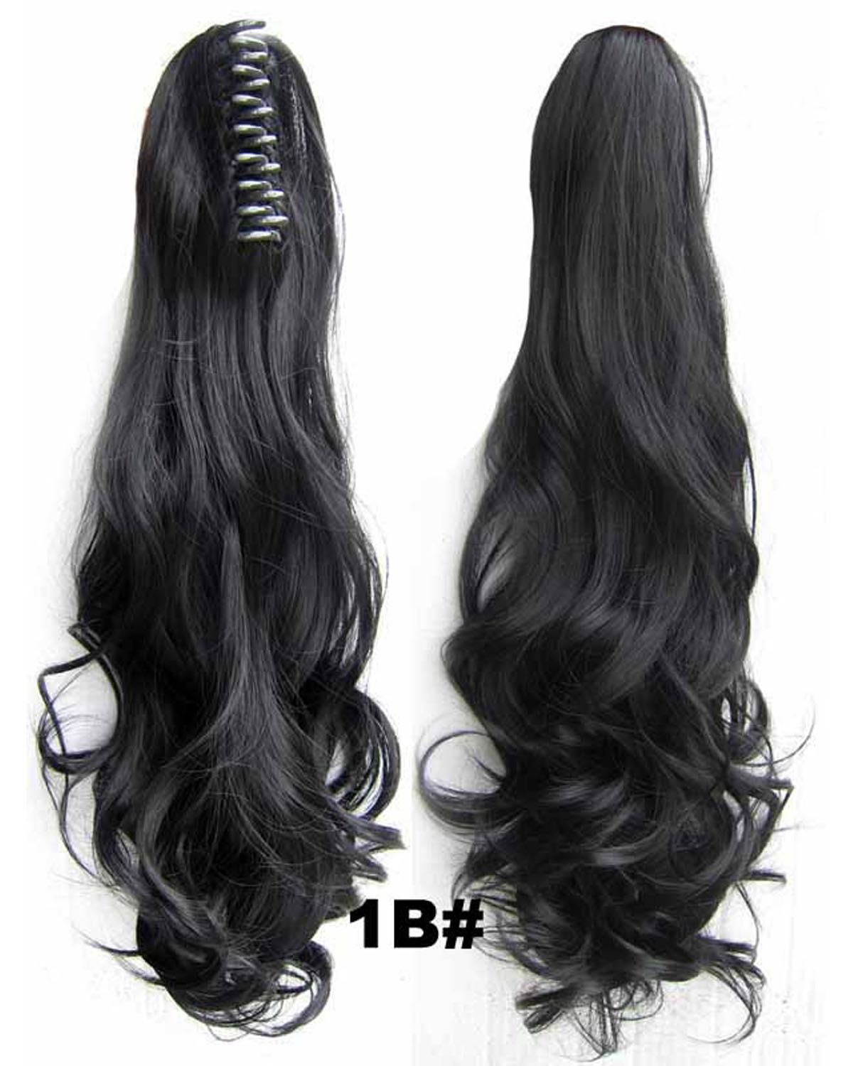 22 Inch Lady Popular Body Wave Curly and Long Claw Chip Synthetic Hair Ponytail 1B#