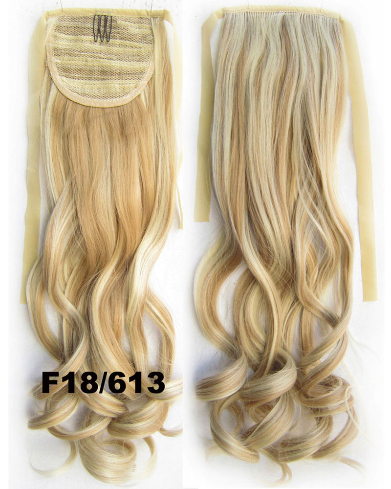 22 Inch Lady Popular  Curly and Long Lace/Ribbon Synthetic Hair Ponytail F18/613 Smooth and Decent