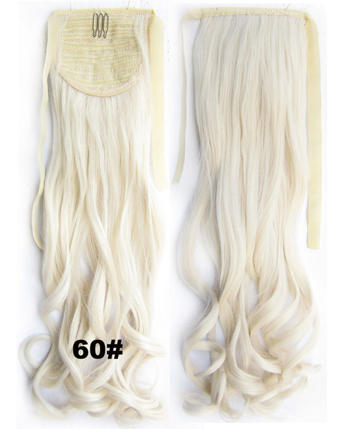 22 Inch Lady Salable Curly and Long Lace/Ribbon Synthetic Hair Ponytail  60# Good Quality