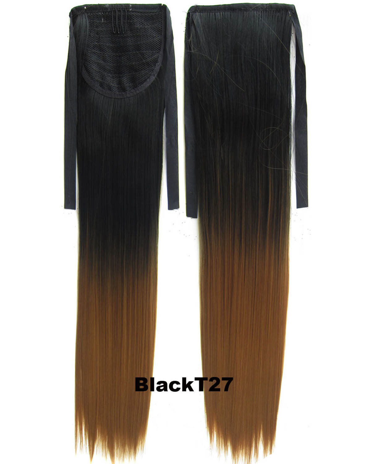 22 Inch Lady Straight and Long Lace/Ribbon Synthetic Hair Ponytail Ombre  BlackT27 Clean