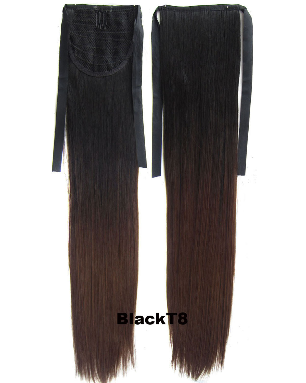 22 Inch Lady Straight and Long Lace/Ribbon Synthetic Hair Ponytail Ombre BlackT8 Hot-Sale