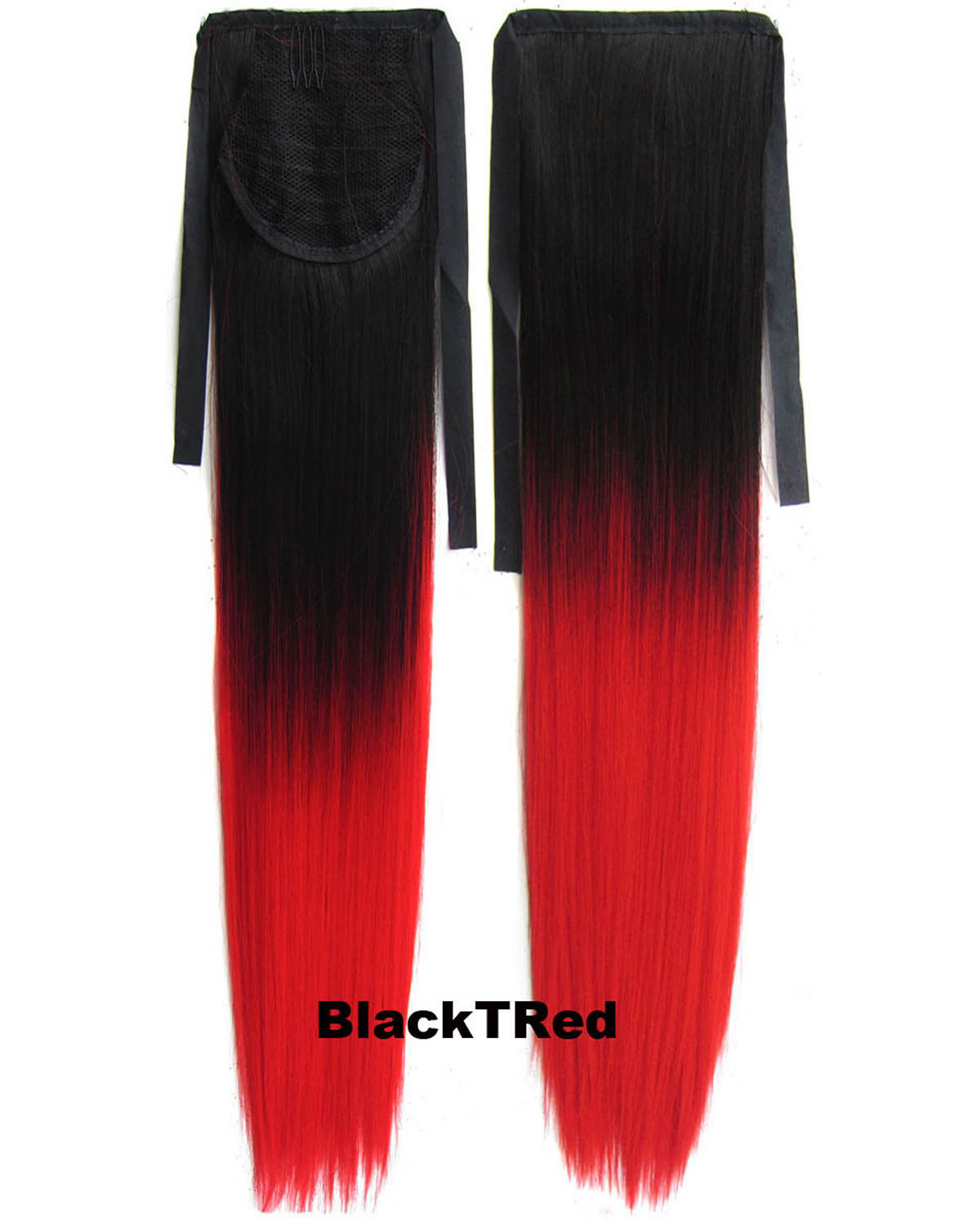22 Inch Lady Straight and Long Lace/Ribbon Synthetic Hair Ponytail Ombre BlackTRed Charming