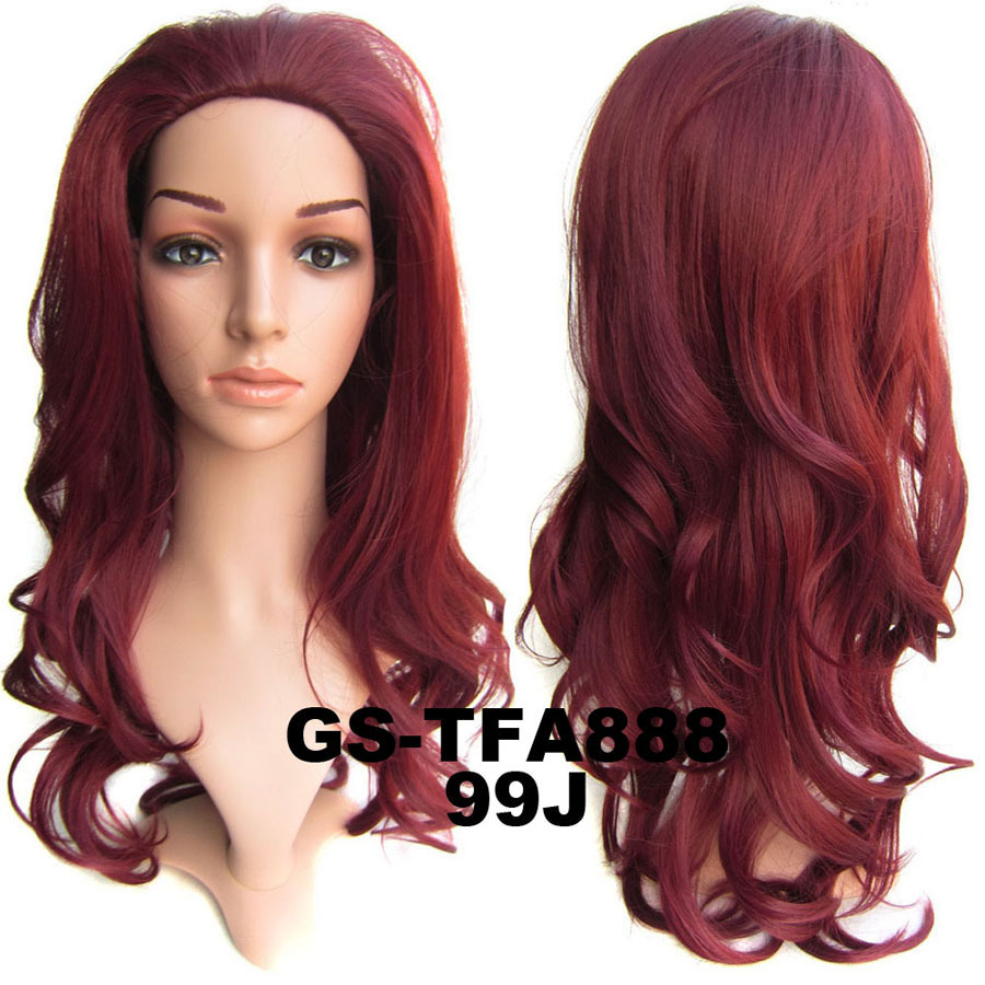 22 Inch Lustrous Curly and Long 3/4 Half Head Synthetic Hair Wigs With Comb  99J