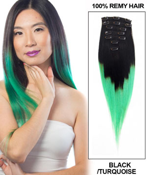 22 Inch Noble Ombre Clip in Hair Extensions Two Tone Straight 9 Pieces #1BTGreen