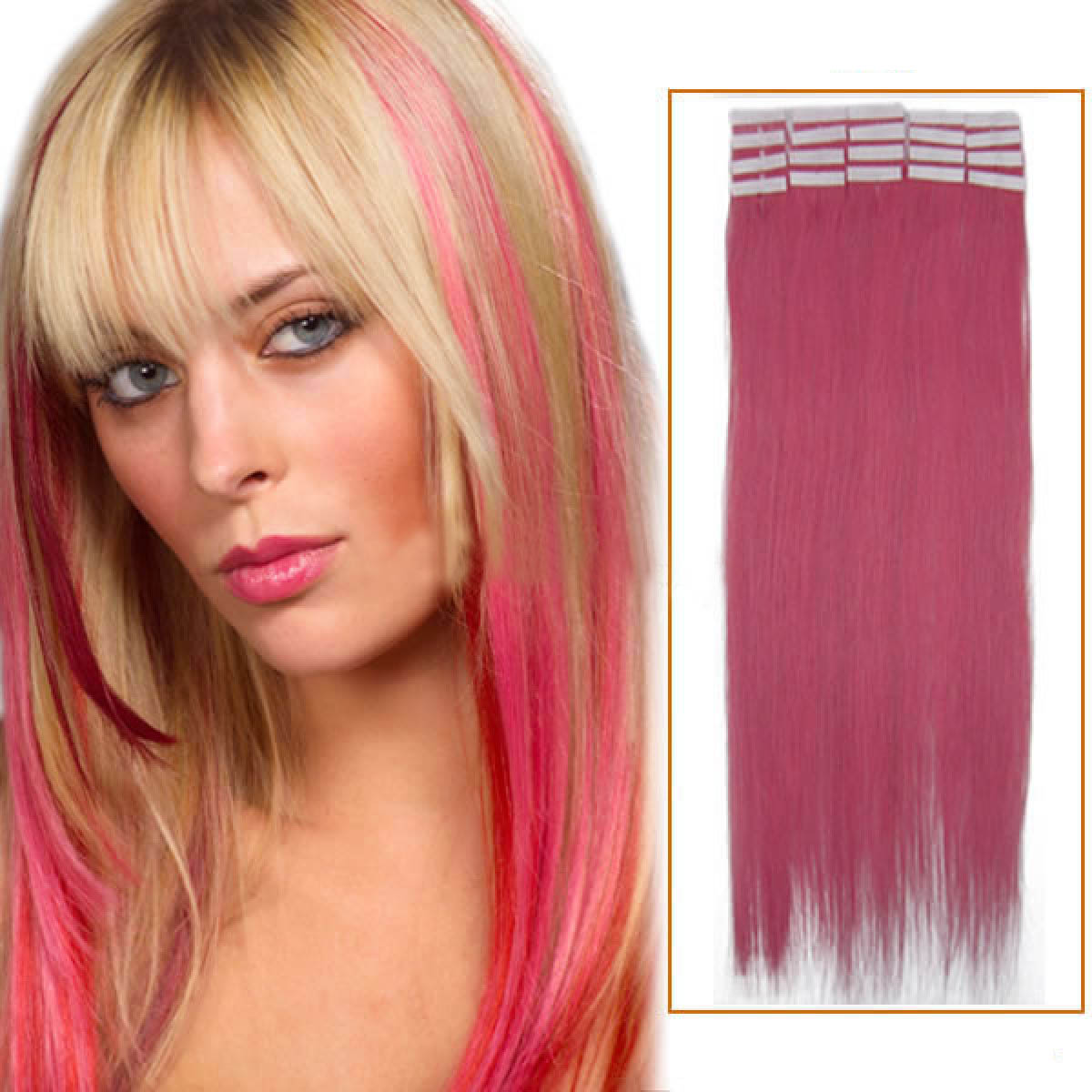 22 Inch Pink Tape In Human Hair Extensions 20pcs