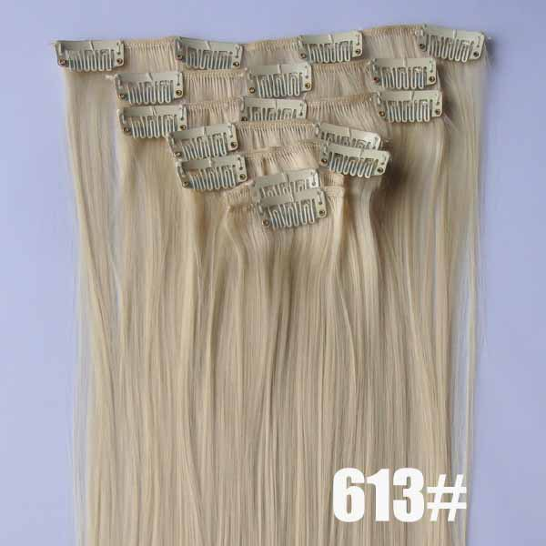 22 Inch Popular Straight and Long Full Head Clip in Synthetic Hair Extensions 613#7 Pieces