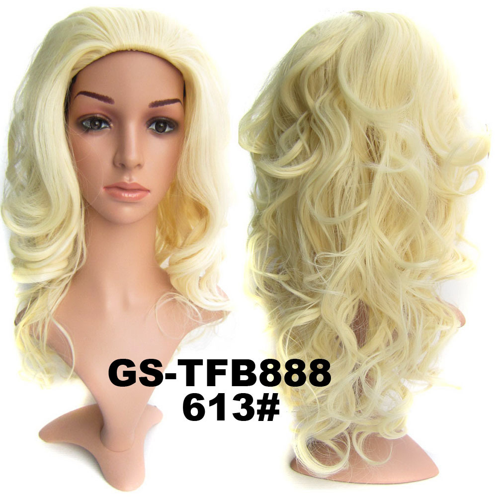 22 Inch Shining Curly and Long 3/4 Half Head Synthetic Hair Wigs With Comb 613#