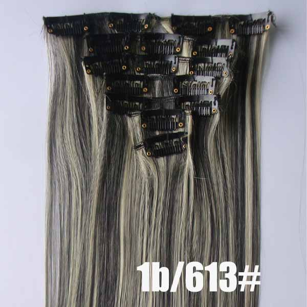 22 Inch Silky Straight and Long Full Head Clip in Synthetic Hair Extensions P1B/613 7 Pieces