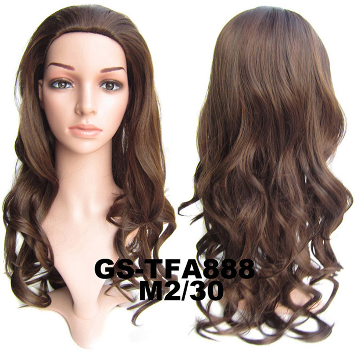 22 Inch Smooth Curly and Long 3/4 Half Head Synthetic Hair Wigs With Comb  M2/30