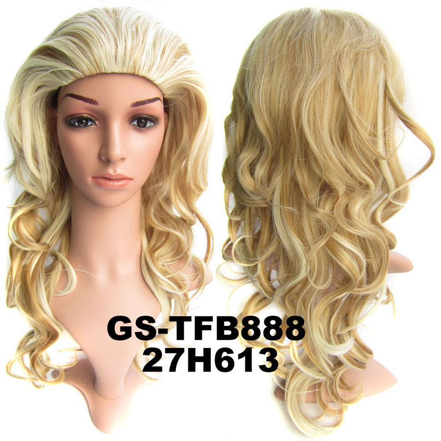 22 Inch Soft Curly and Long 3/4 Half Head Synthetic Hair Wigs With Comb  H27/613
