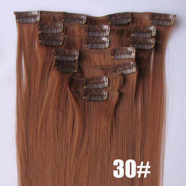 22 Inch Sophisticated Straight and Long Full Head Clip in Synthetic Hair Extensions 7 Pieces