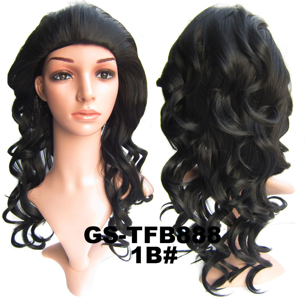 22 Inch Stylish Curly and Long 3/4 Half Head Synthetic Hair Wigs With Comb 1B#
