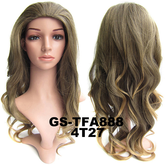 22 Inch Trendy Curly and Long 3/4 Half Head Synthetic Hair Wigs With Comb  4T27#