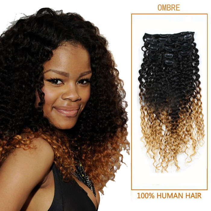 22 Inch Two Tone Ombre Clip In Hair Extensions Bright Small Curly 9