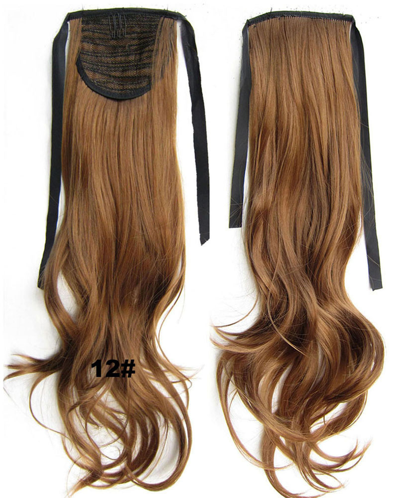22 Inch Woman Curly and Long Lace/Ribbon Synthetic Hair Ponytail 12# Clean and Smooth