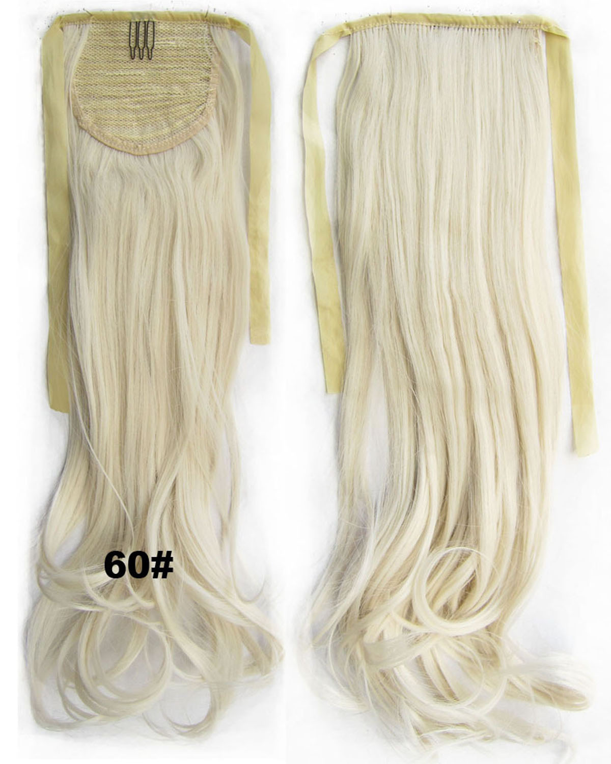 22 Inch Woman  Curly and Long Lace/Ribbon Synthetic Hair Ponytail  60# Beautiful Body Wave