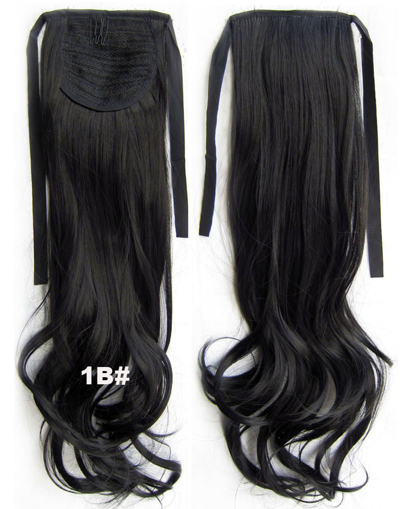22 Inch Woman Lively Curly and Long Lace/Ribbon Synthetic Hair Ponytail 1B#