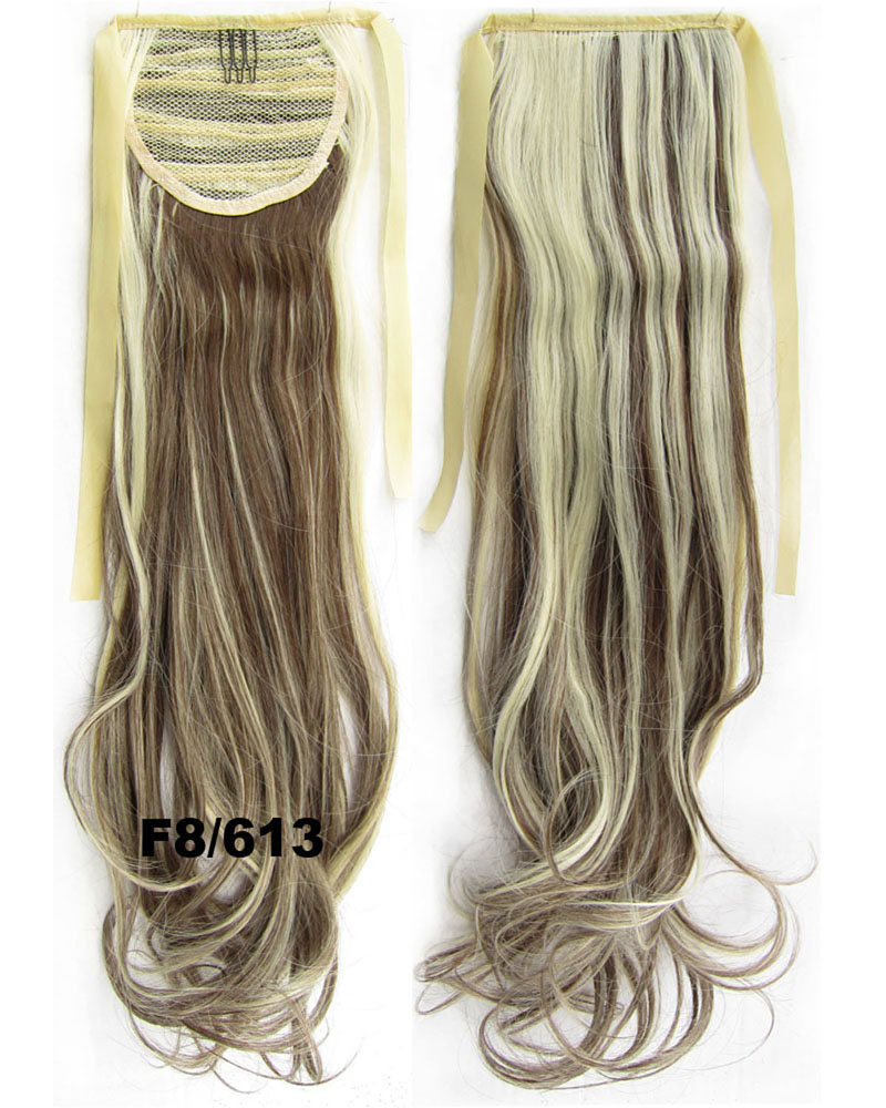 22 Inch Woman Natural Curly and Long Lace/Ribbon Synthetic Hair Ponytail F8/613