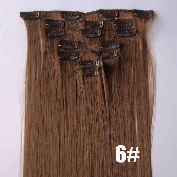 22 Inch Wonderful Straight and Long Full Head Clip in Synthetic Hair Extensions 6# 7 Pieces