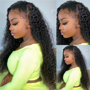 24-40 Inch Long Curly 13*4 Lace Front Wigs 180% 250% Density On Sale