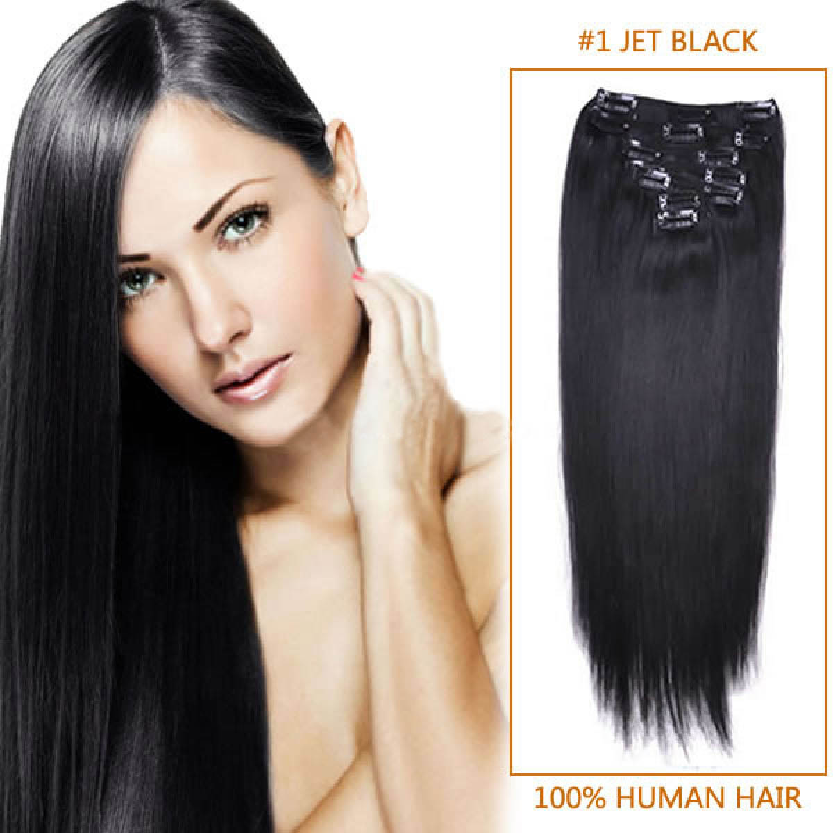 24 Inch 1 Jet Black Clip In Human Hair Extensions 11pcs