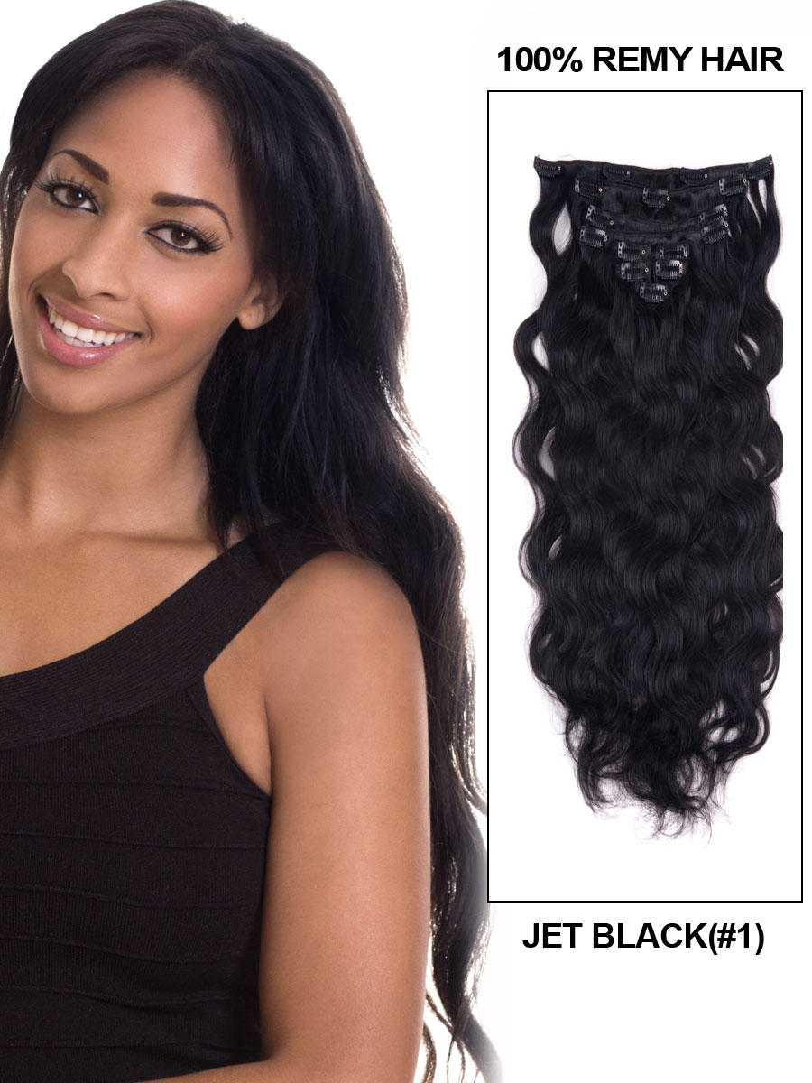24 Inch 1 Jet Black Clip In Indian Remy Hair Extensions Body Wave