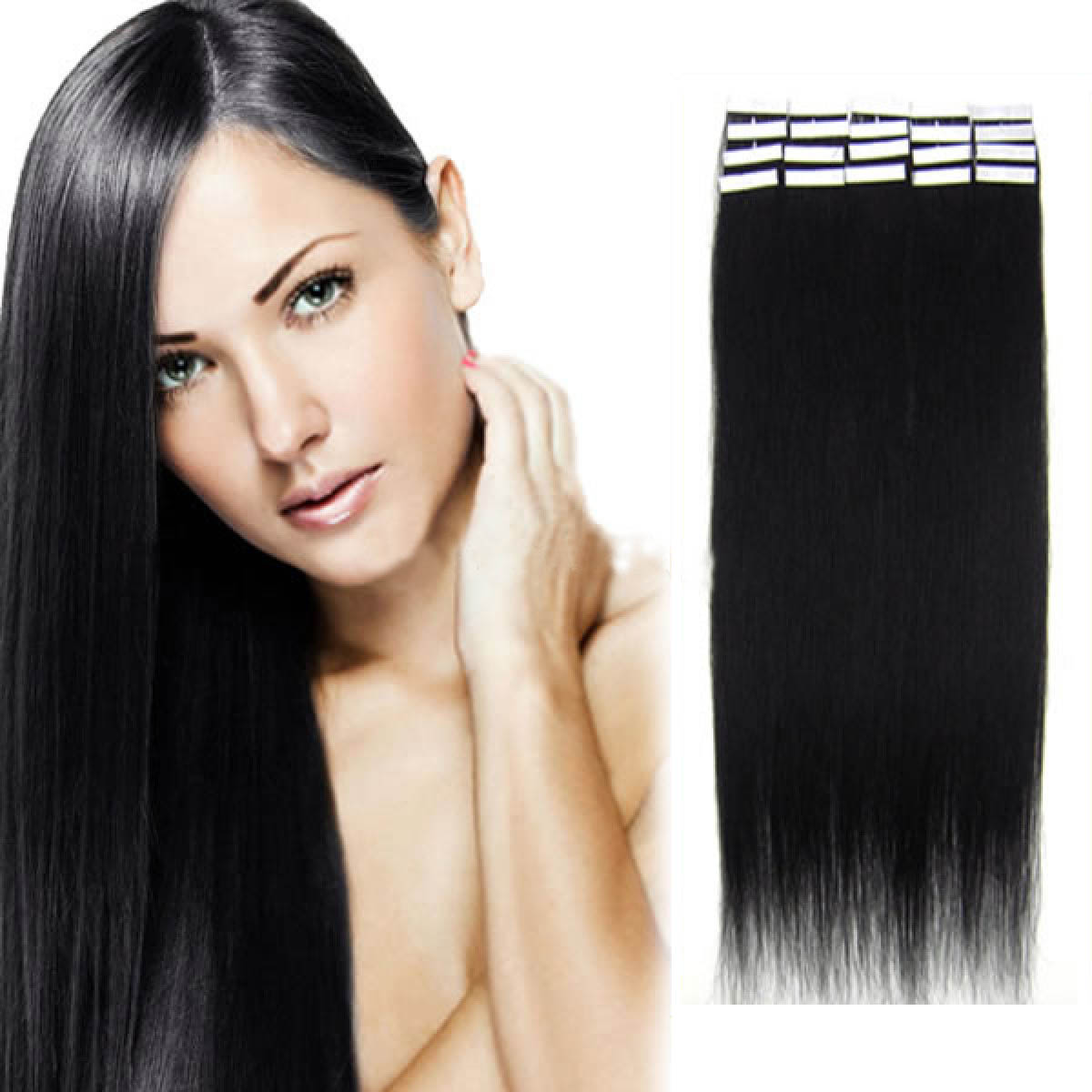 24 Inch 1 Jet Black Tape In Human Hair Extensions 20pcs