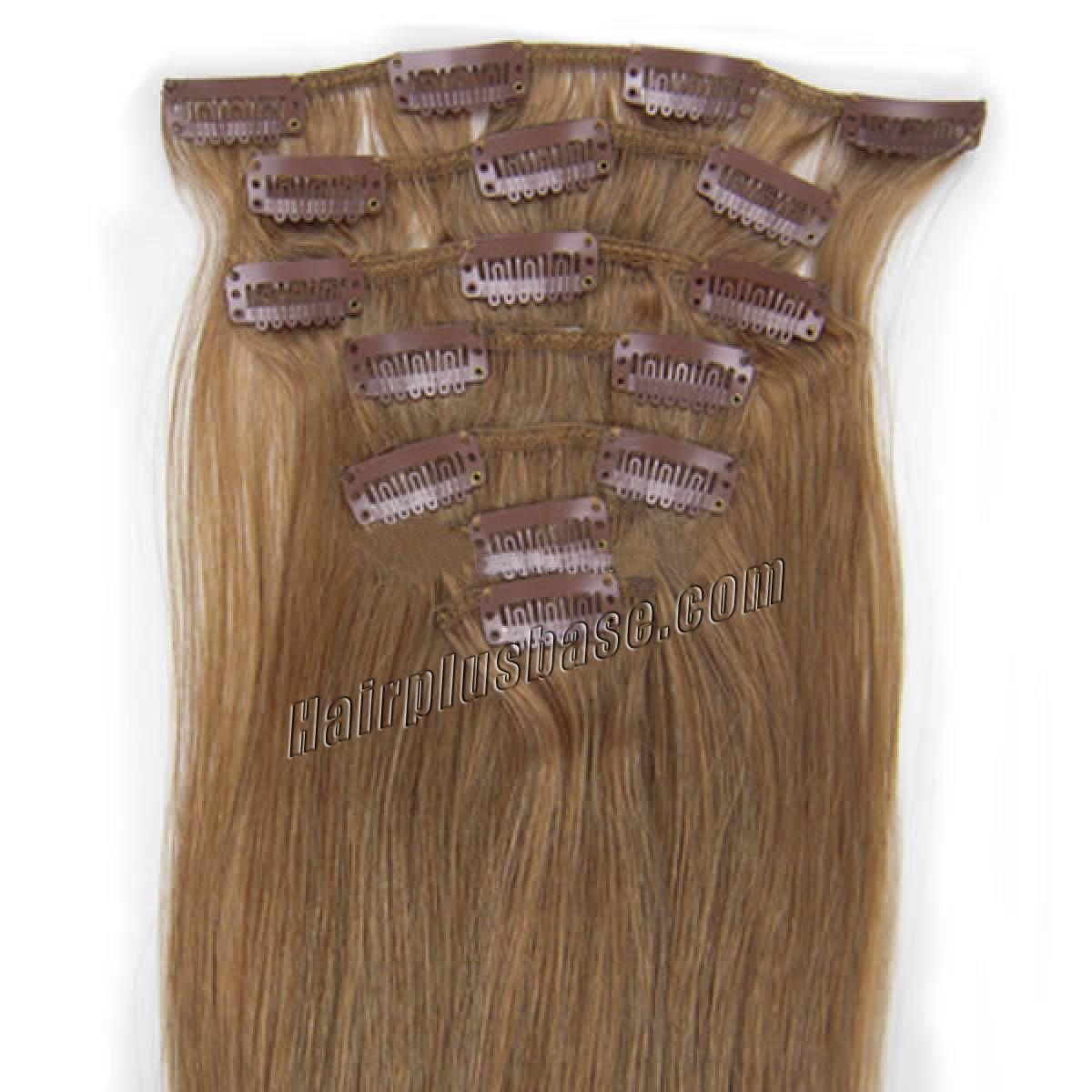 24 Inch 12 Golden Brown Clip In Human Hair Extensions 8pcs