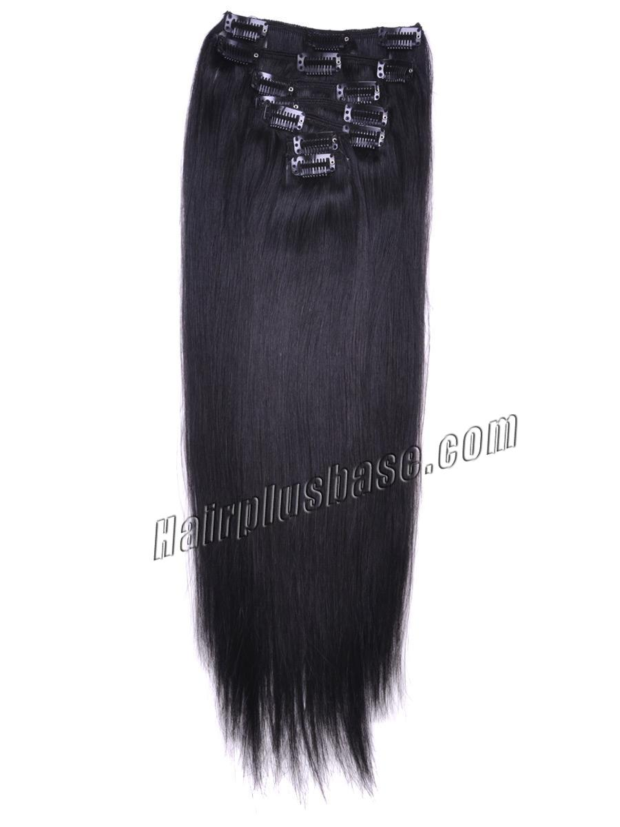 24 Inch #1b Natural Black Clip In Remy Human Hair Extensions 9pcs no 2