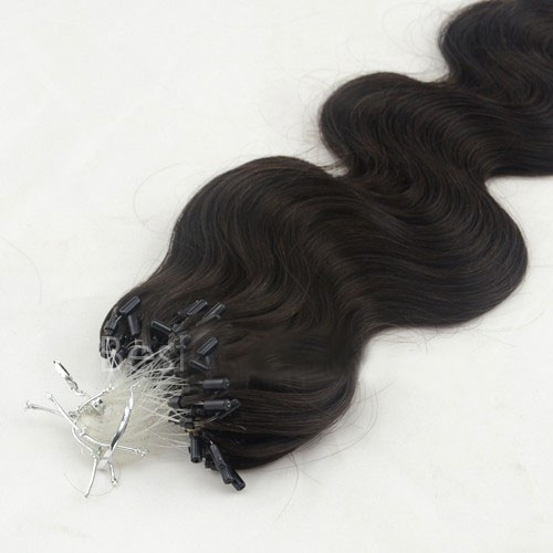 34 Inch #1B Natural Black Supple Body Wave Micro Loop Hair Extensions 100 Strands details pic 0