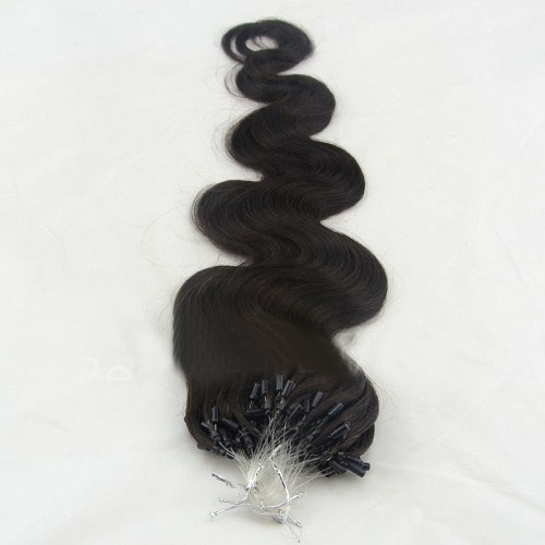 34 Inch #1B Natural Black Supple Body Wave Micro Loop Hair Extensions 100 Strands details pic 2