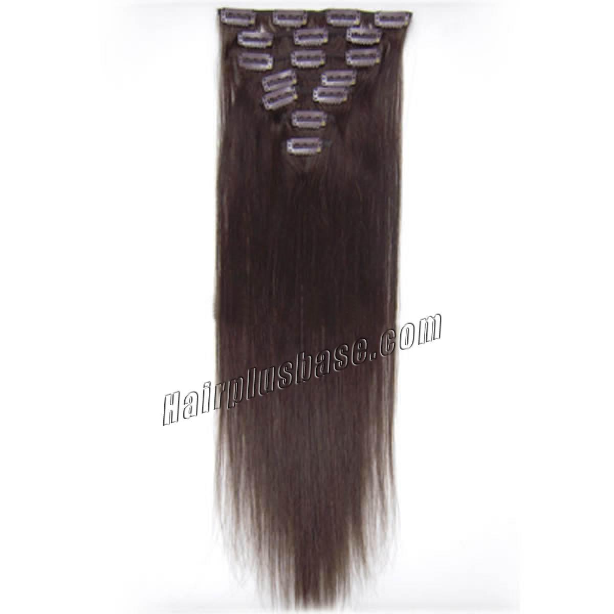 24 Inch #2 Dark Brown Clip In Human Hair Extensions 10pcs no 2
