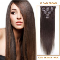 24 Inch #2 Dark Brown Clip In Human Hair Extensions 10pcs