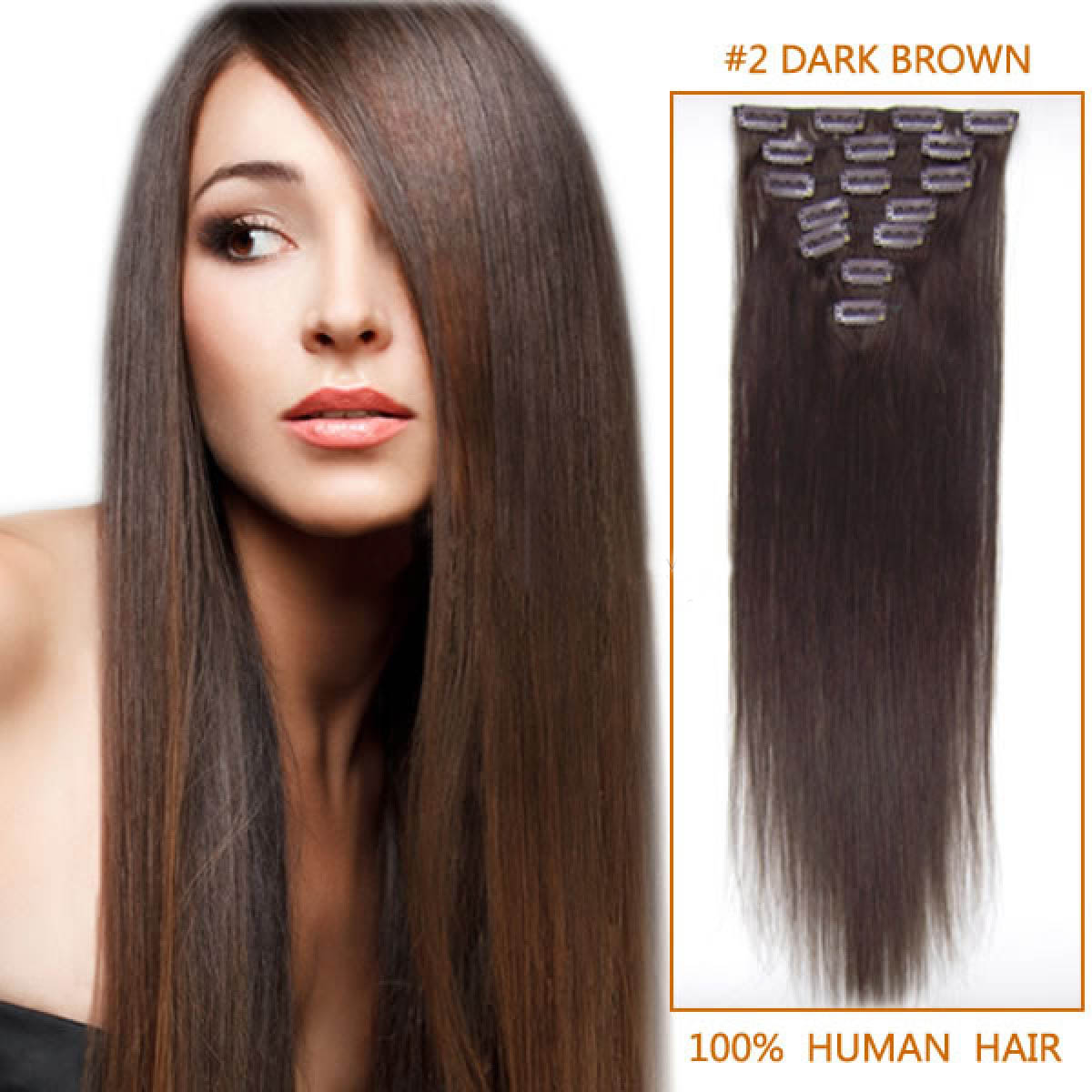 24 Inch #2 Dark Brown Clip In Remy Human Hair Extensions 9pcs