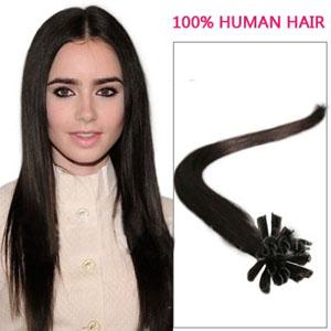 24 Inch 100s Inviting Straight Nail/U Tip Human Hair Extensions #2 Darkest Brown 50g