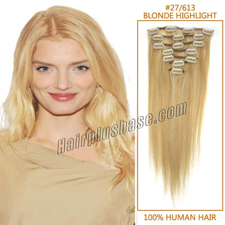24 Inch 27613 Blonde Highlight Clip In Remy Human Hair Extensions 9pcs