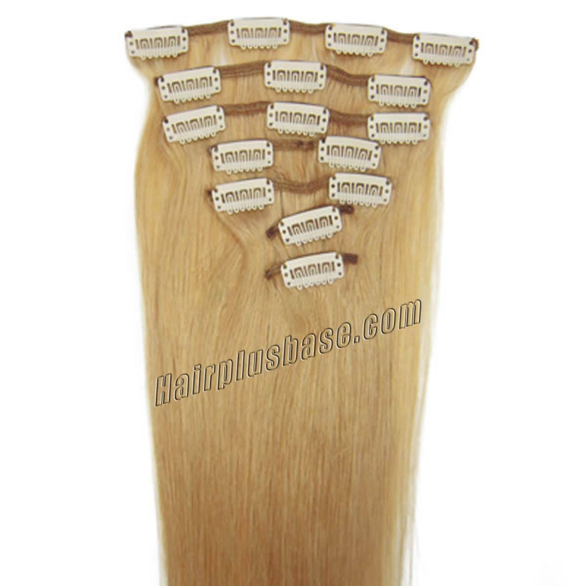24 Inch #27 Strawberry Blonde Clip In Remy Human Hair Extensions 9pcs no 1