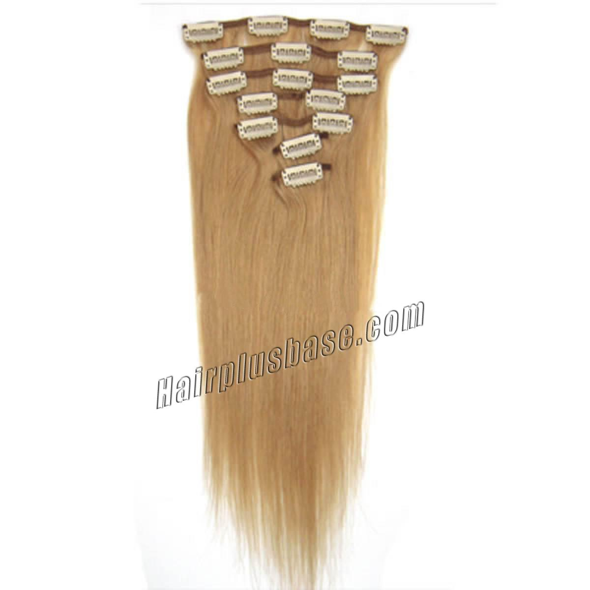 24 Inch #27 Strawberry Blonde Clip In Remy Human Hair Extensions 9pcs no 2