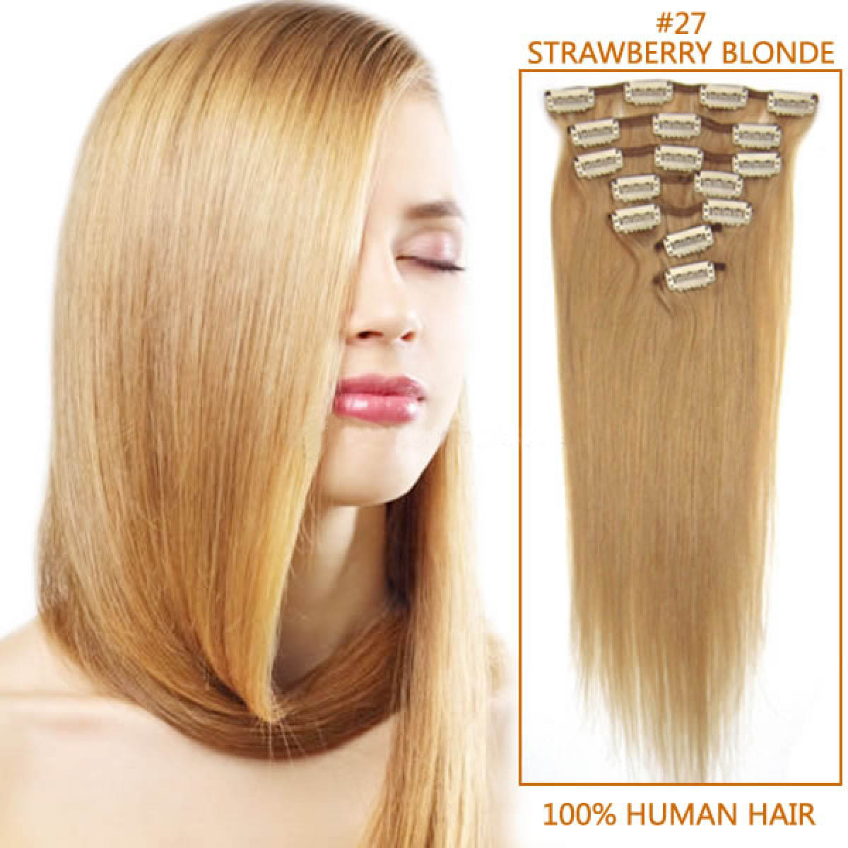 24 Inch 27 Strawberry Blonde Clip In Remy Human Hair Extensions 9pcs