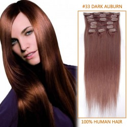 24 Inch #33 Dark Auburn Clip In Remy Human Hair Extensions 7pcs
