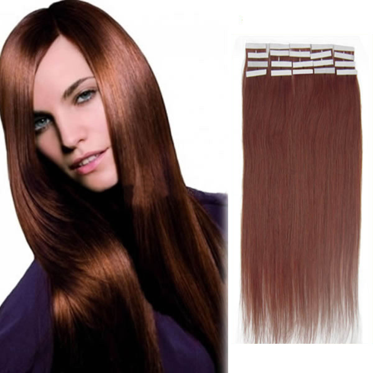24 Inch 33 Dark Auburn Tape In Human Hair Extensions 20pcs