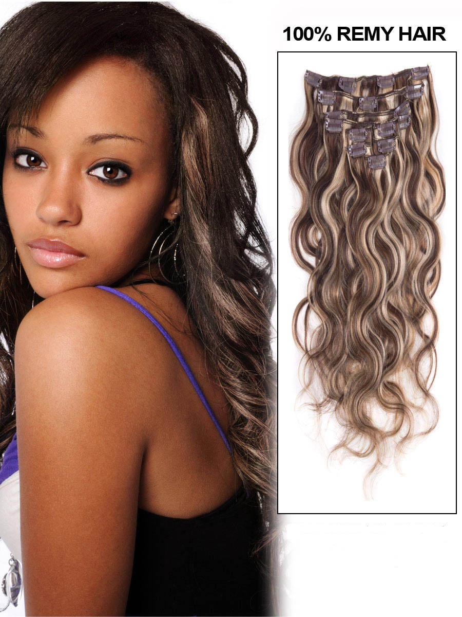 24 Inch 4613 Medium Brownbleach Blonde Mixed Clip In Hair